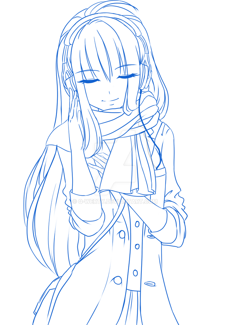 Line Art Headphones : Girl headphones lineart blue by q werty on deviantart