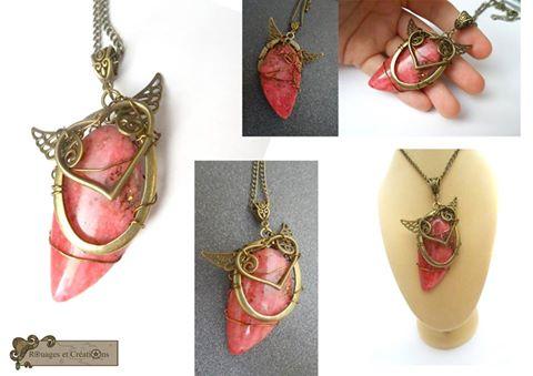 Heart prink jasper pendant by Rouages-et-Creations