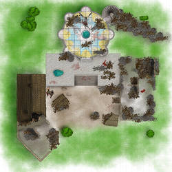 DnD battle map - Temple of Bahamut ruined
