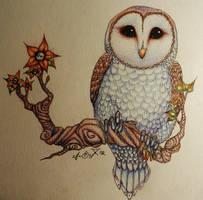 Owl and Skull Flowers by Kuragarikurasu