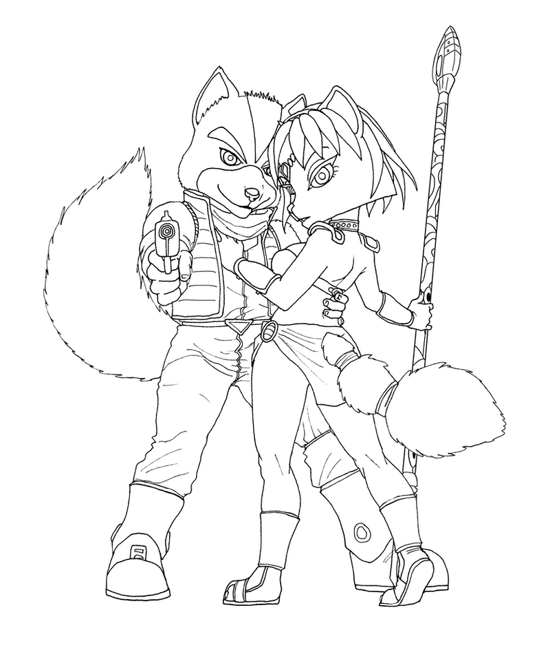 Fox and Krystal pose lineart by BlackBy