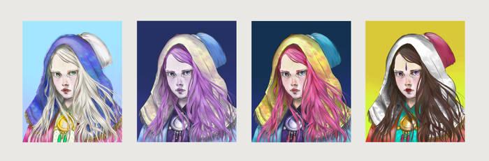 Portrait sketch - Palette researches