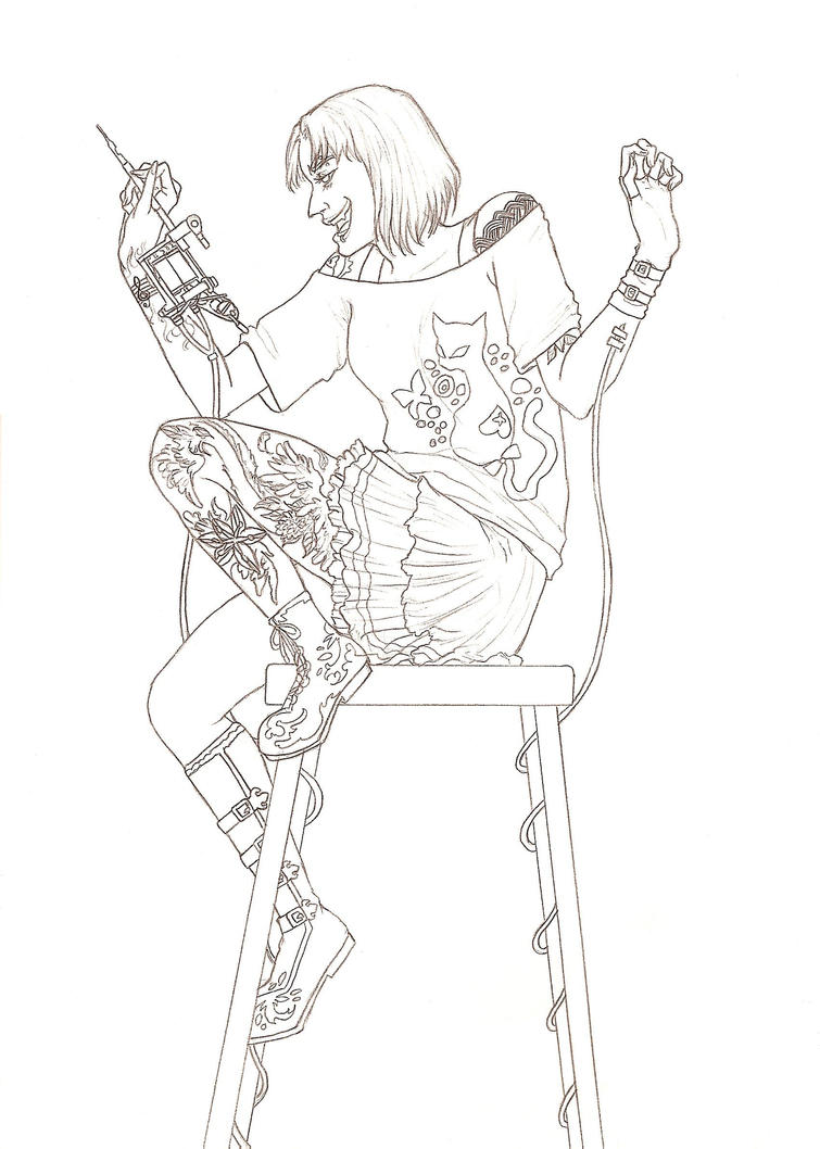 Camera Line Drawing Tattoo : Tattoo artist lineart by dominiqueduong on deviantart