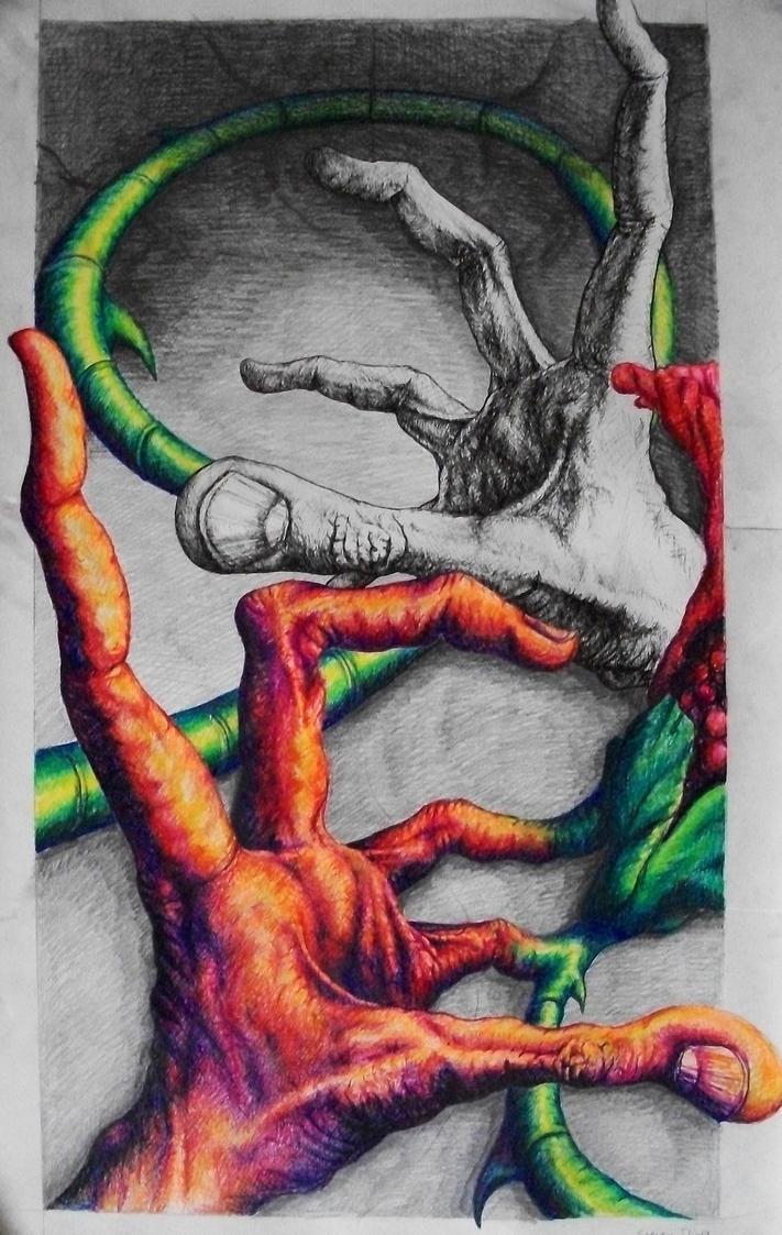 hands flower color,pen,pencil by ssliwa1 on DeviantArt