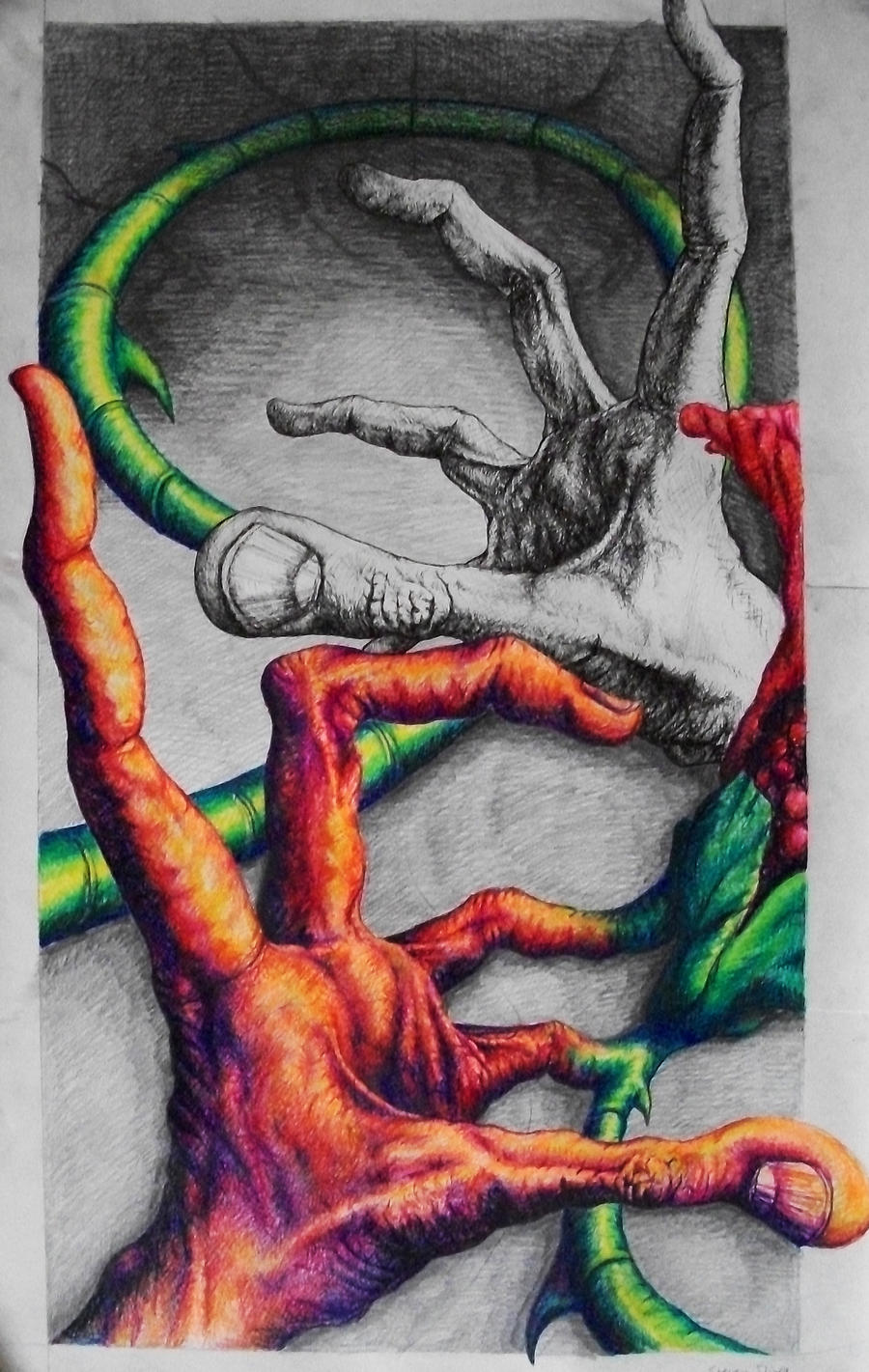 Hands Flower Colorpenpencil By Ssliwa1