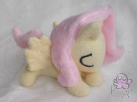 sleeping Fluttershy filly plush by PinkuArt