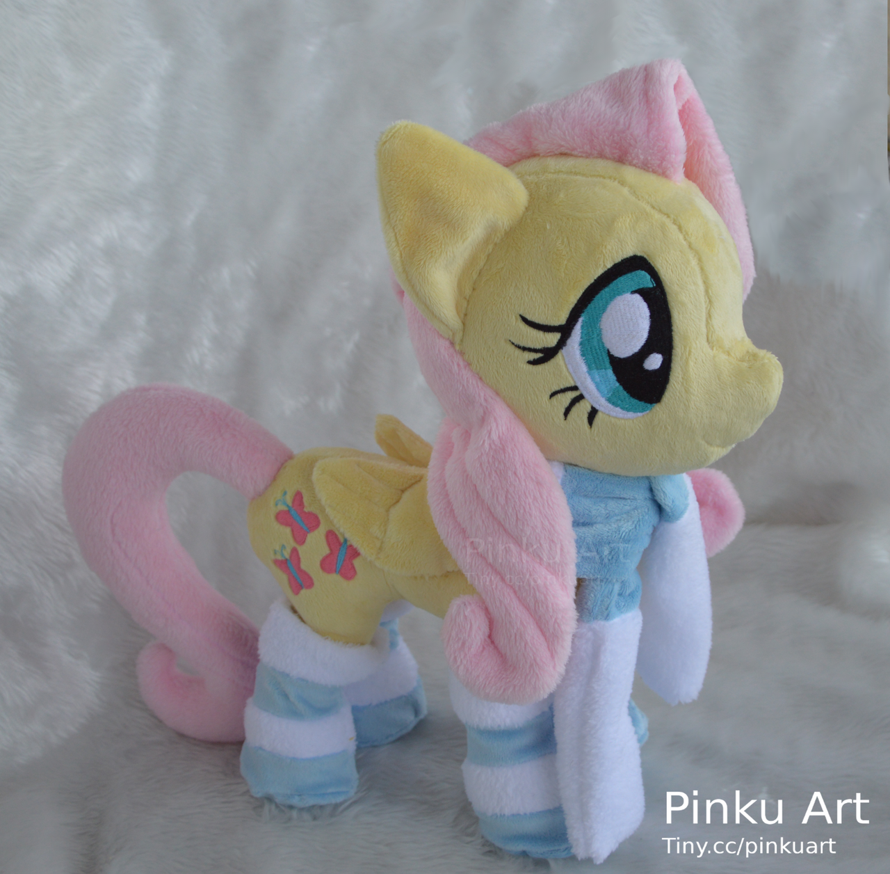 Winter Fluttershy plush by PinkuArt