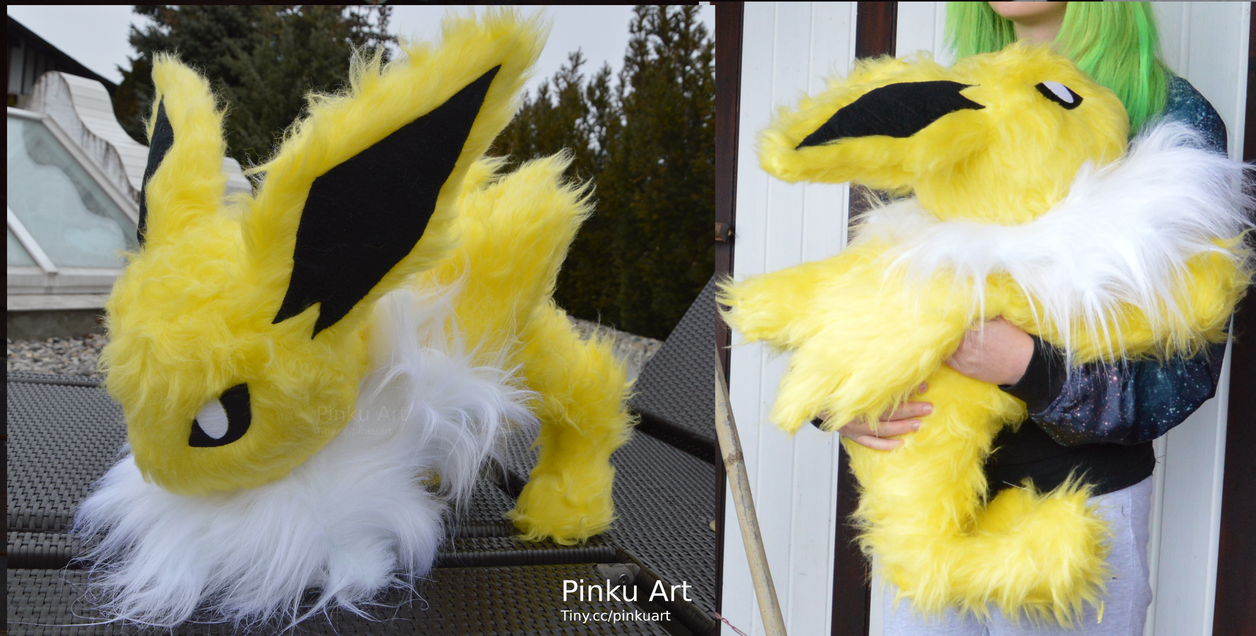 Attacking Jolteon plush by PinkuArt