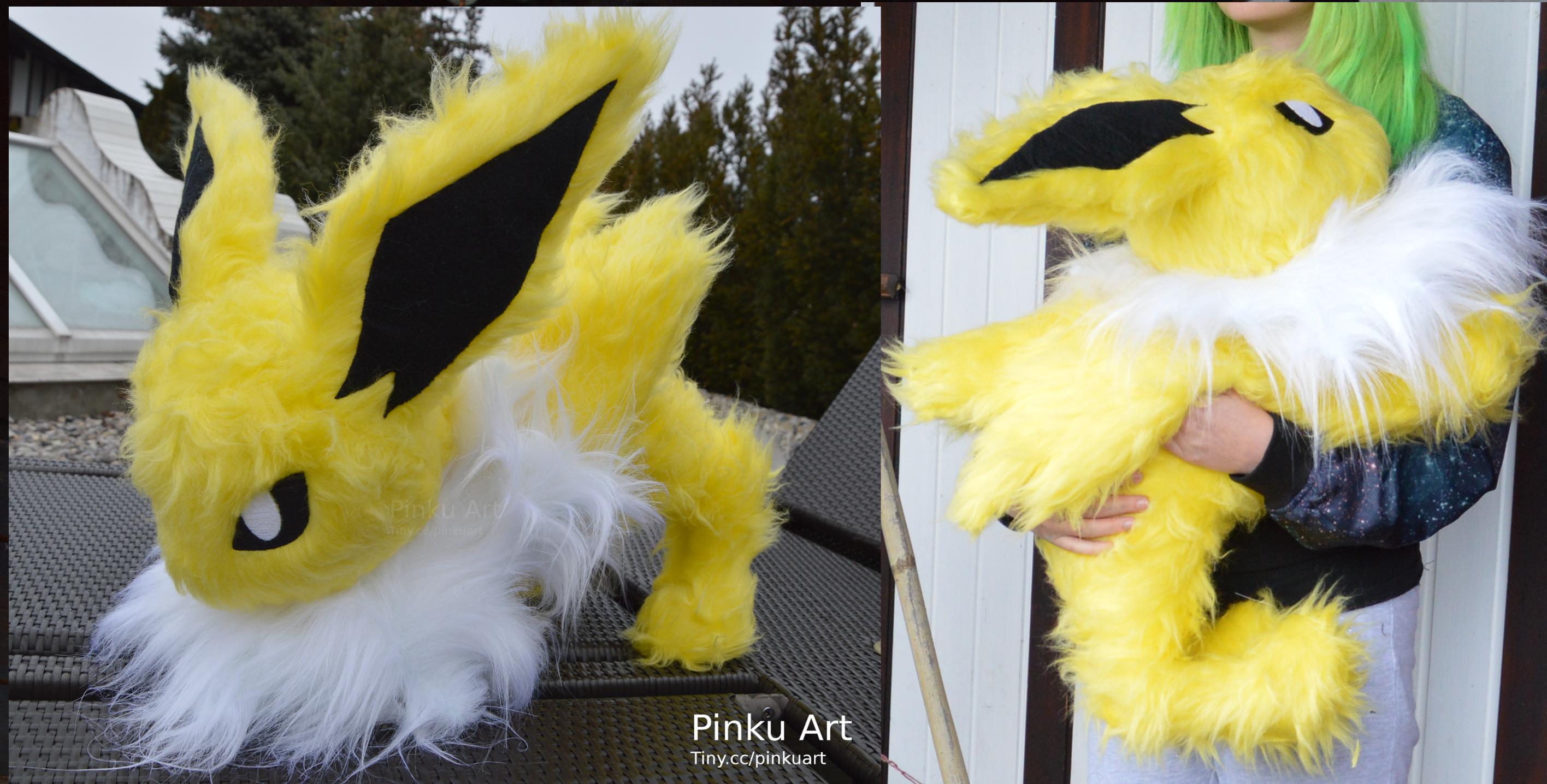 Attacking Jolteon plush by PinkuArt