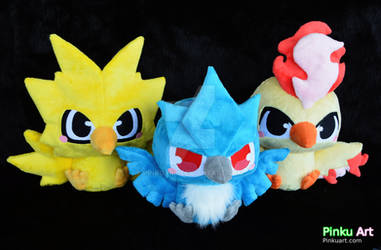Baby Articuno, Zapdos, and Moltres plushies by PinkuArt
