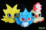 Baby Articuno, Zapdos, and Moltres plushies