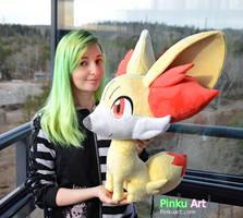Lifesize Fennekin plush - Pokemon by PinkuArt