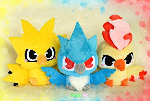 Baby Zapdos, Articuno and Moltres plush - Pokemon