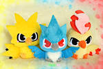 Baby Zapdos, Articuno and Moltres plush - Pokemon