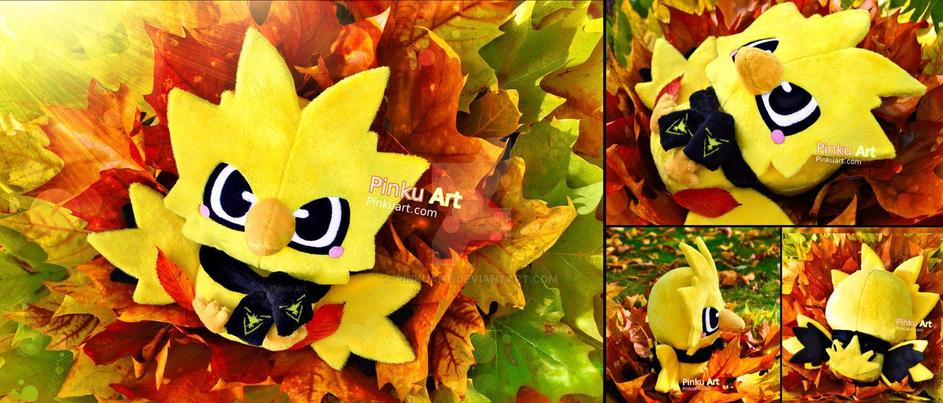 Baby Zapdos plush + Team Instinct scarf I Pokemon by PinkuArt