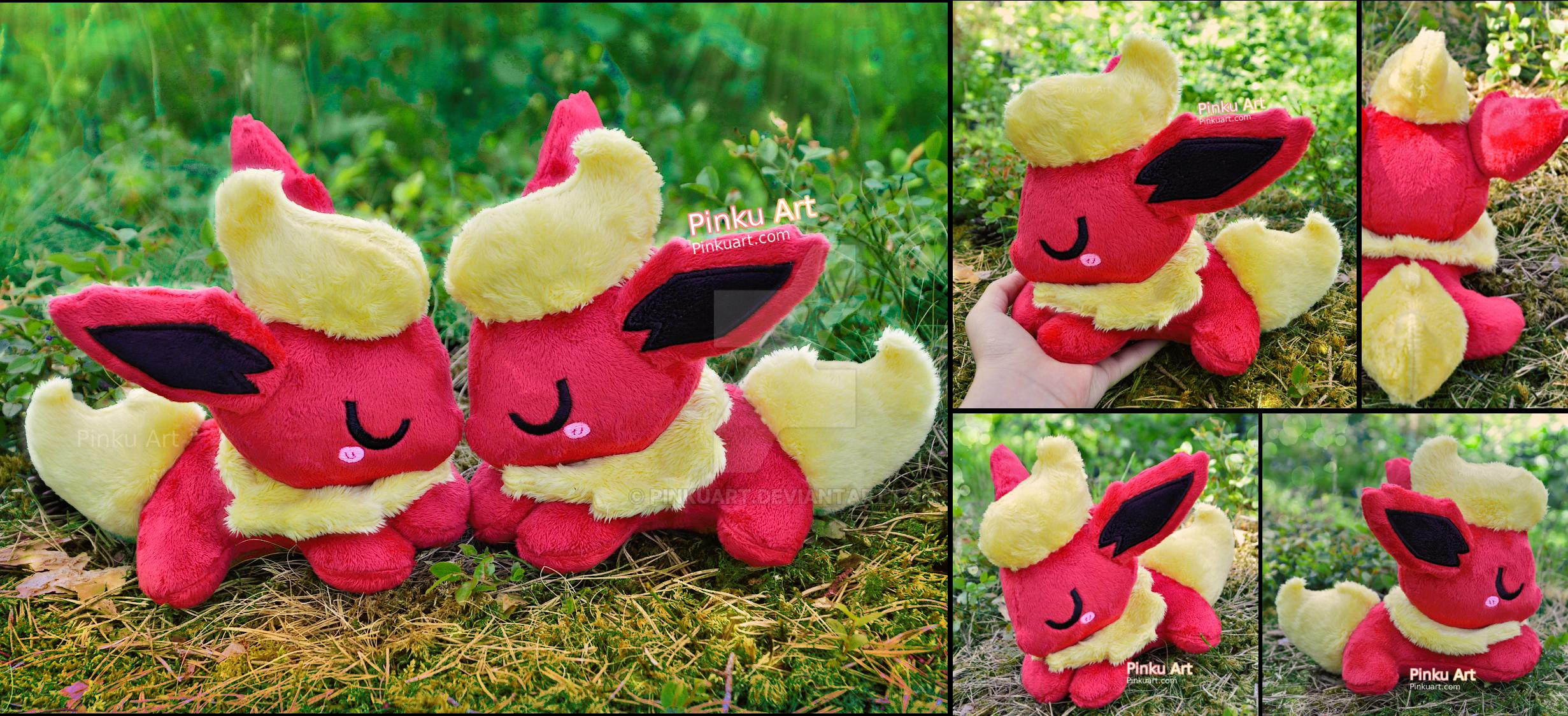 Sleepy Flareon plushies I Pokemon by PinkuArt