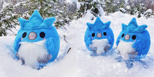 Articuno Borb plushies in the snow I Pokemon by PinkuArt