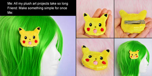 Surprised Pikachu hairclip accessory I Pokemon by PinkuArt