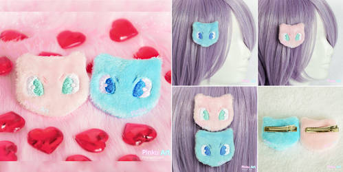 Mew plush hairclip I Pokemon by PinkuArt