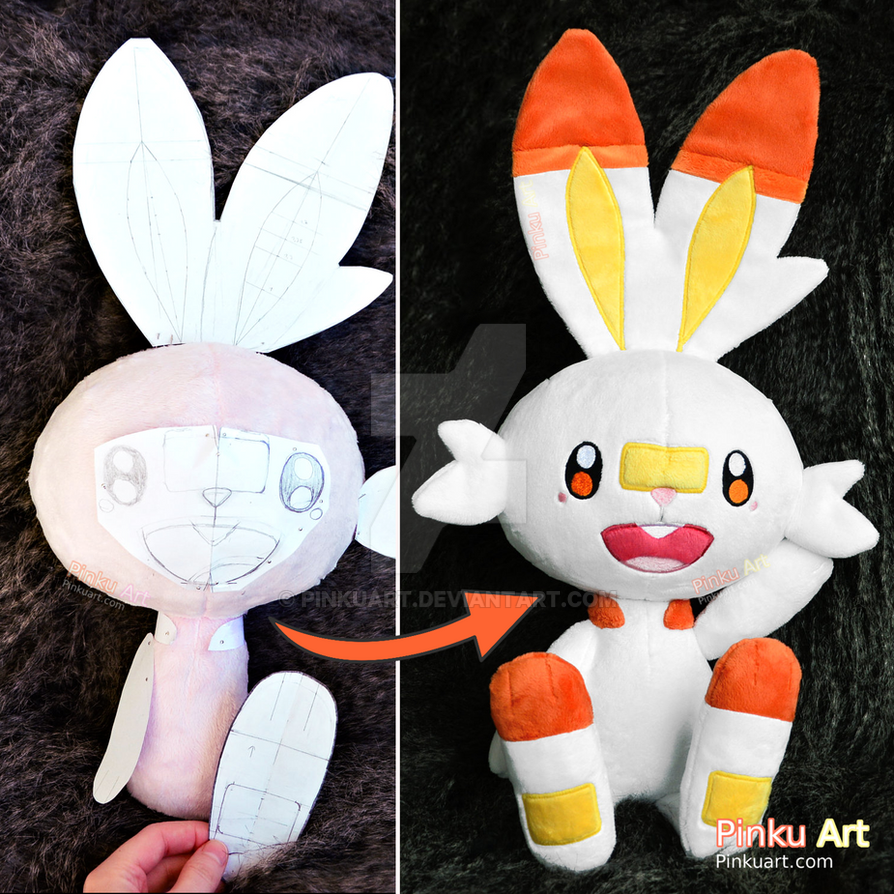 Scorbunny - Prototype and final plush I Pokemon by PinkuArt