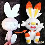 Scorbunny - Prototype and final plush I Pokemon