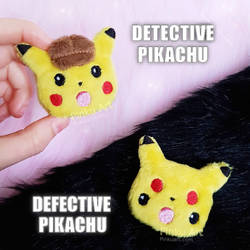 Detective / Defective Pikachu plush clip / brooch