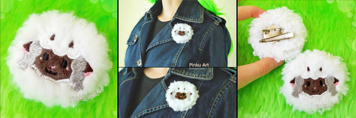 Wooloo plush brooch / hairclip I Pokemon