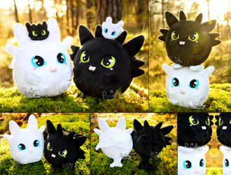 Round Toothless + Lightfury Blob plush family