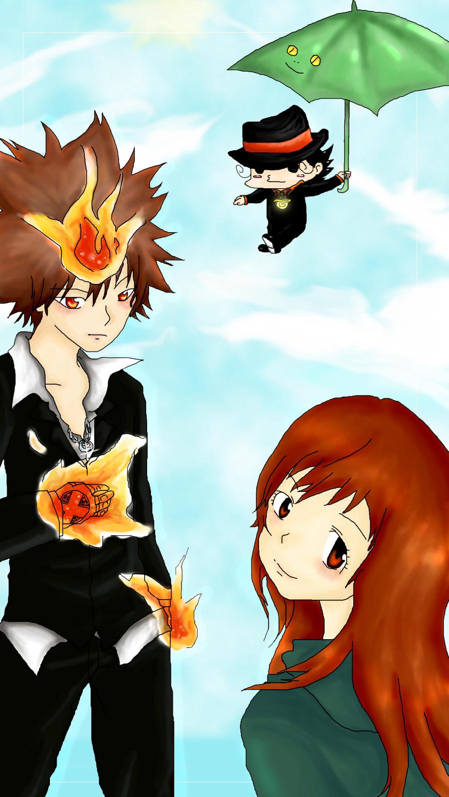 tsuna kyoko and reborn by rui09 on deviantart