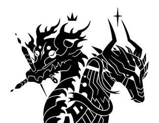 Yaldabaoth and Mekhane Dragons by SunnyClockwork