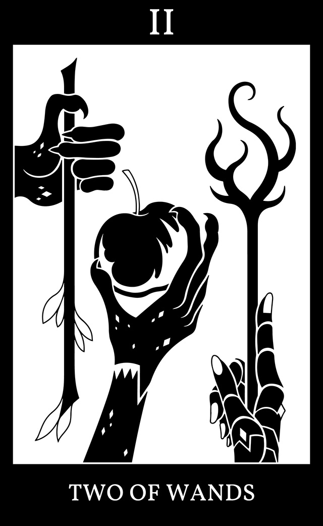 Two of Wands: Beneath Two Trees