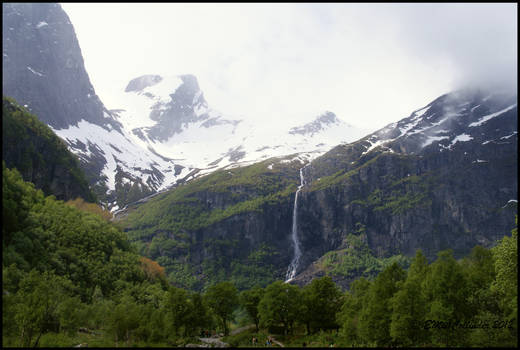 One of many waterfalls in Briksdal