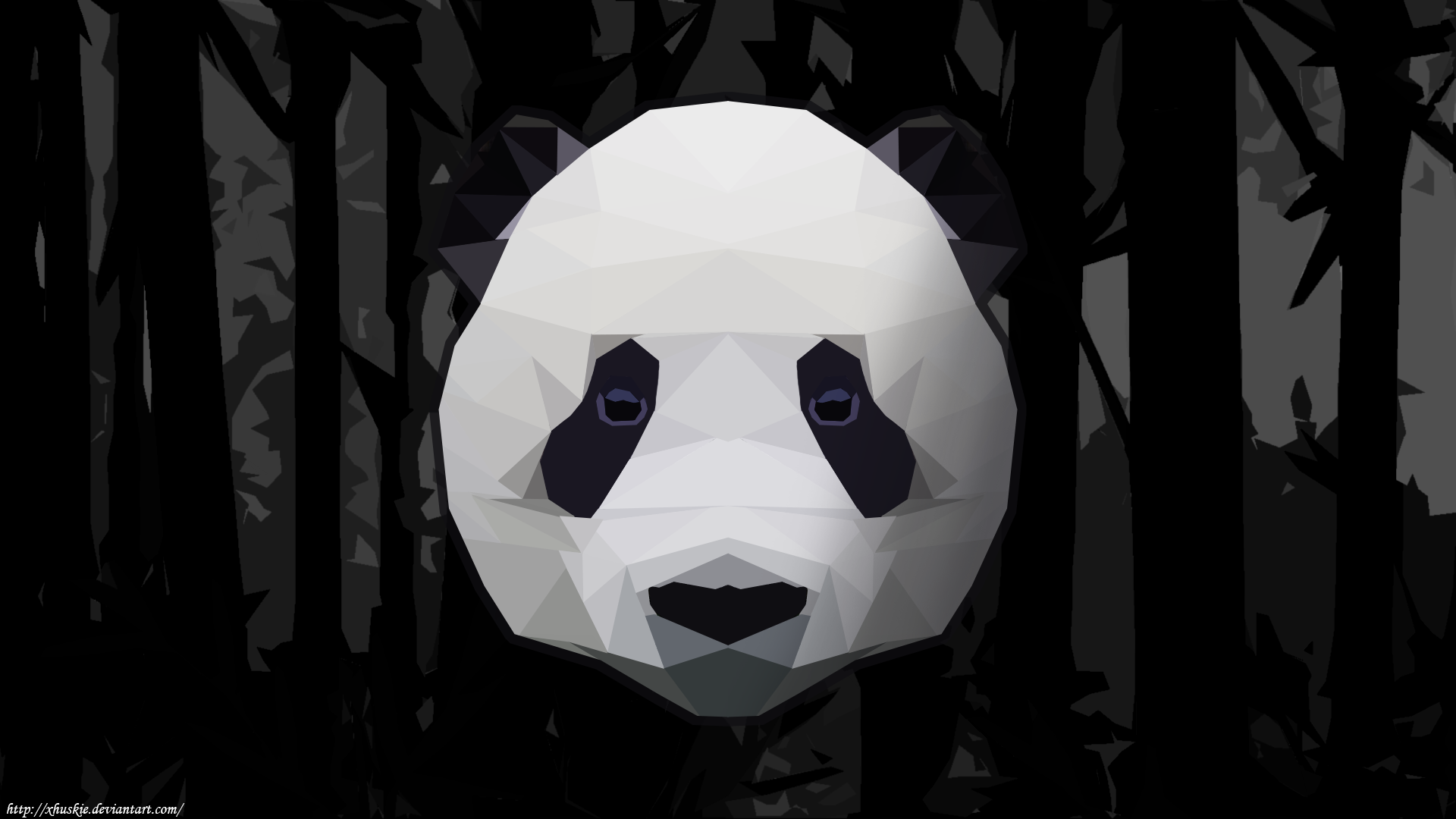 Low Polly Panda Bamboo Wallpaper (Black And White) By XHuskie On DeviantArt