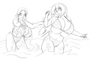 A Day at the Beach with Sophie and Betty by soninthedark
