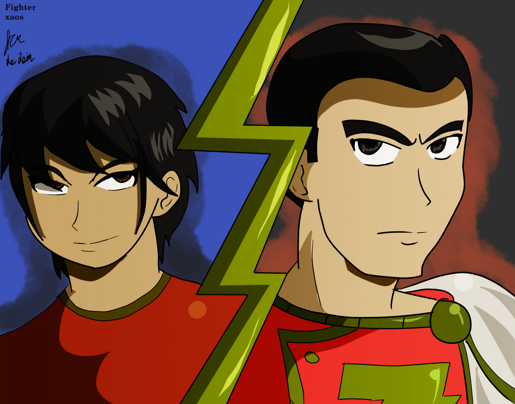 Billy Batson and SHAZAM by fighterxaos