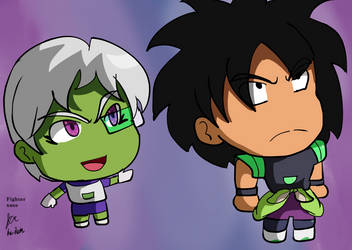 Cheelai and Broly chibi by fighterxaos