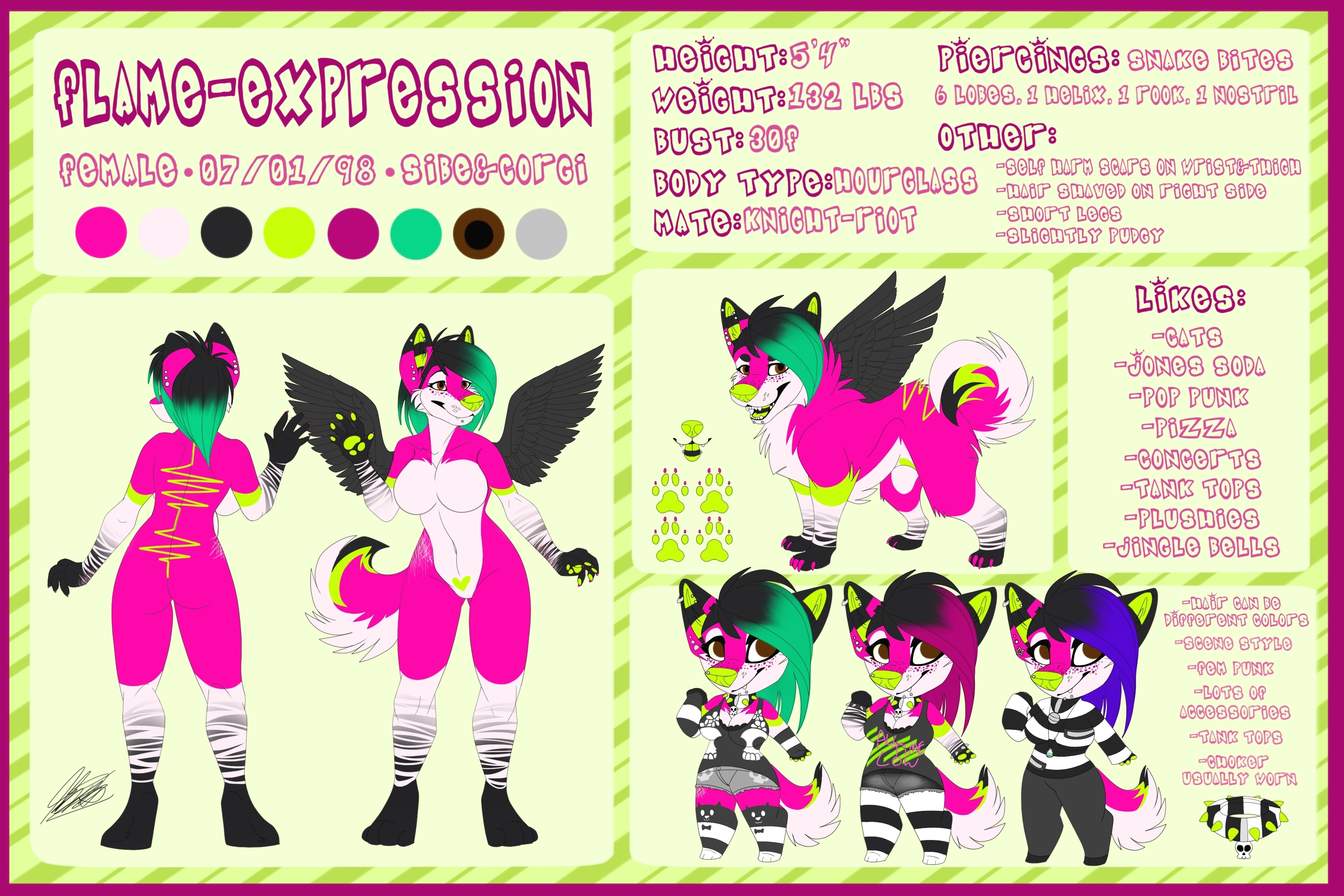 Fursona Ref by Flame-E... Lime Cat