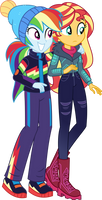 Rainbow Dash and Sunset (Winter Outfit) Eg