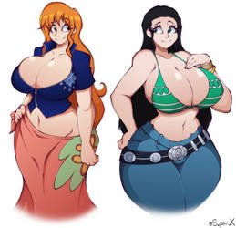 Nami and Robin Clothing Swap by XSuperiX
