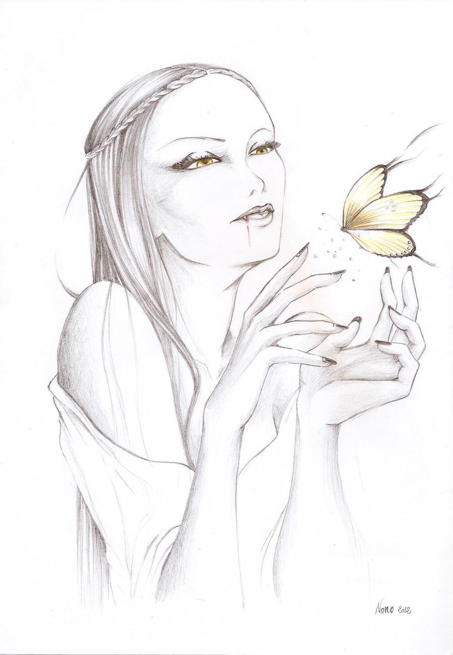 Vampire et papillon by Pikamine