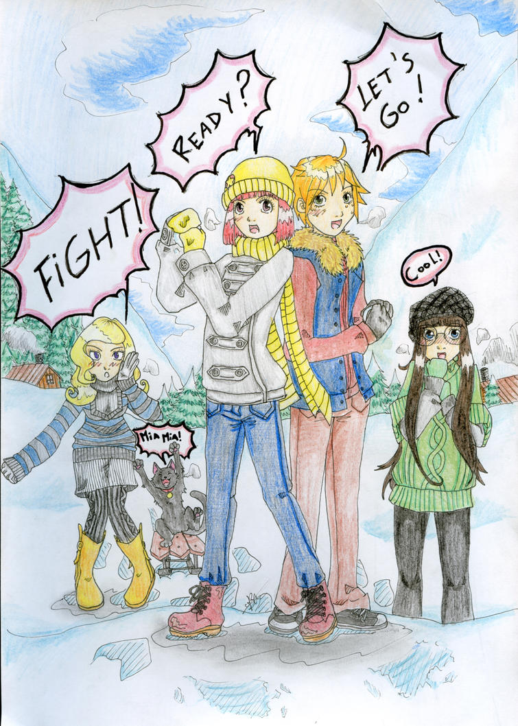 Snowball fight coloured by Miharu811