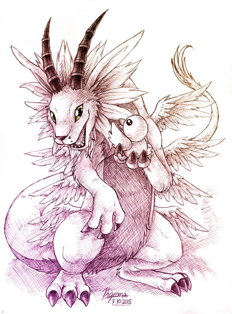Sketchtober 3: You're my Best Friend! by Pigeona
