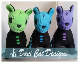 Sugar Kittens, Green, Blue, Purple by saiyanyoko
