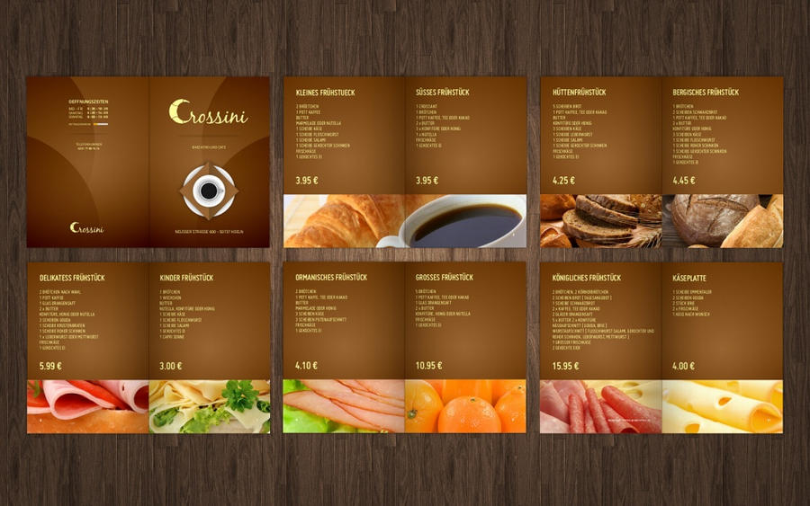 Crossini Bakery Menu Card by MrBlaq