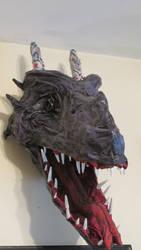 Paper Mache Dragon Head Trophy by MagicNightFury