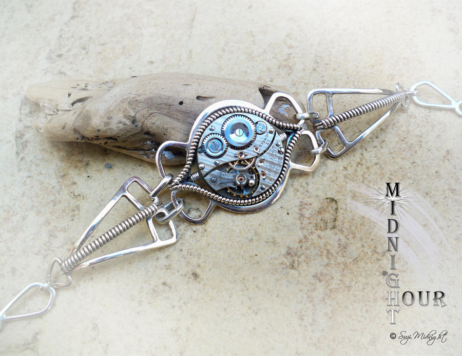 Sterling Silver Wire wrap Steampunk Bracelet no.6 by SuziMidnight ...