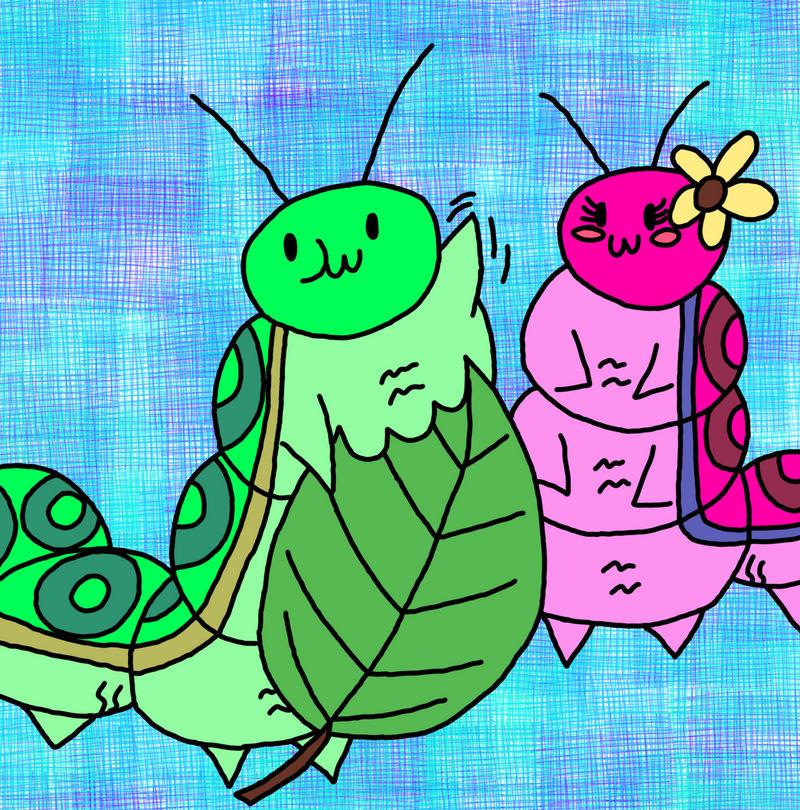 Regular fatterpillar and chatterpillar with leaf
