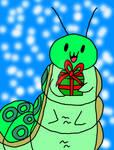Fatterpillar with christmas gift