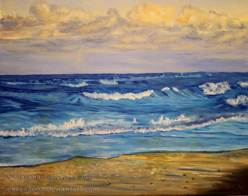 Sea Sunset -oil by Oksana007