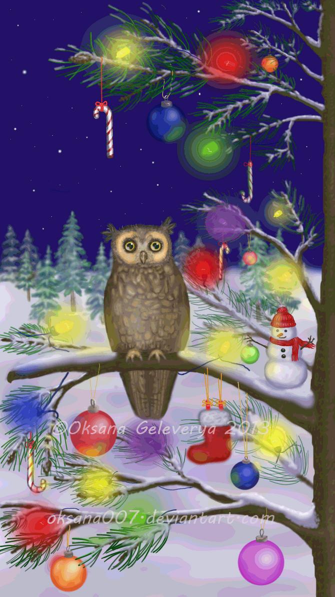 Owl of a Season - Xmas by Oksana007